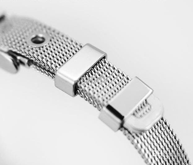 10MM / 8MM Stainless Steel Chain Bracelet With Rubber Stoppers Use To DIY With Slide Rhinestone Letters