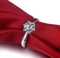 marca de jóias de prata coreana venda por atacado-0.6CT Korean Popular Sterling Silver Ring NSCD solitário de diamante anel de noivado marca de jóias 18K White Gold Plated Pontas Clássico 925 Anel