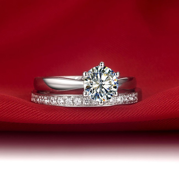 1Ct Round Cut 6 Prongs Synthetic Diamond Wedding Band Ring Set for Women Tow Rings Combine Solid 925 Sterling Silver Ring White Gold Plated