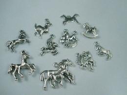 Wholesale European Mixed Tibetan Silver - Hot ! Tibetan Silver Mix Horse Charm Beads Fit European Bracelet DIY (z018)