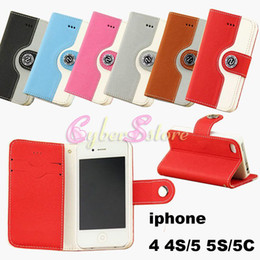 Wholesale Iphone 5c Leather - Fashion Wallet Leather Case Cover With Credit Card Holder For iphone 4 4S   5 5S   5C