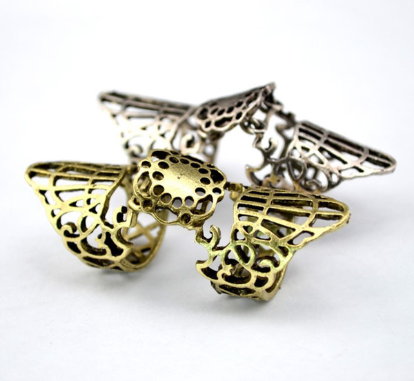 New Vintage Style Bronze Silver Metal Hollow Out Carving Flower Movable Knuckle Joint Ring Finger Rings