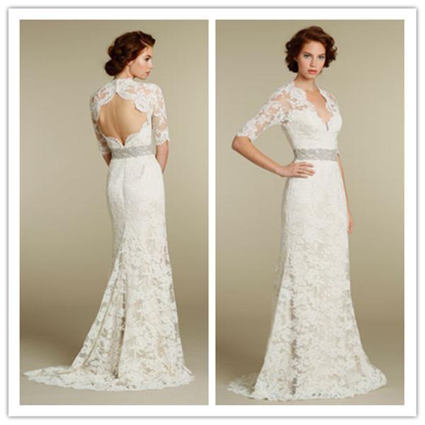 Vintage lace wedding dresses ivory