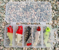 Wholesale Soft Lure Red Head - Free Shipping 8g 9g fake fish lure baits soft lead fish kit Red Head Luminous night fishing 5 pieces with lure box