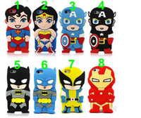Wholesale Despicable Iphone 3d - 3D Superman Batman Spiderman super iron man Hero Ironman venom Despicable Me Rubber Silicone Case Cover for iPhone 4S 5S ipod touch 4 5 case