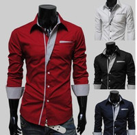 Wholesale Free Travelers - Free shipping Candy color colored shirts men long sleeve shirt business and leisure travelers 4 Colours