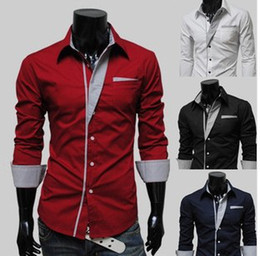 Wholesale Colours Dress Shirts - Free shipping Candy color colored shirts men long sleeve shirt business and leisure travelers 4 Colours