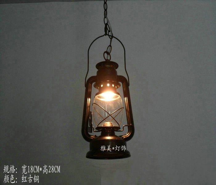Led Pendant Lights Outdoor Nostalgic Vintage Bronze Kerosene Lamp Old Windproof Lantern Camp Light Tent Mastlight