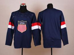 Wholesale Wholesale Olympic Jerseys - 2014 Olympic USA Jerseys Hot Sales Olympics Hockey Jerseys Blank Navy Blue Sports wears Hot Sale Hockey Jerseys Mens Ice Hockey Uniforms