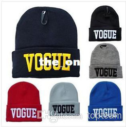 Wholesale Vogue Mix - Free Shipping VOGUE Beanie Knitted Wool Cap Fashion Embroidered Black Warm Hat For Boy Girls' Beanies style mixed
