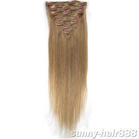 """Wholesale Ash Blonde Extension 16 - 1sets 18""""7pcs set remy Clip-in hair Human Hair Extensions #16 ash blonde mix lots"""