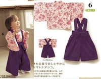 Wholesale Winter Clothing Japan - Floral Baby Girls Sets Kimono Romper Suits Overalls Shirt outfits 100% Cotton TOP QUALIY Japan Baby Clothes Retail