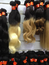 $enCountryForm.capitalKeyWord Canada - Discount high quality cheapest super soft super sexy beautiful ombre hair 1pcs ombre color 1B#-27# black blonde virgin human hair weft