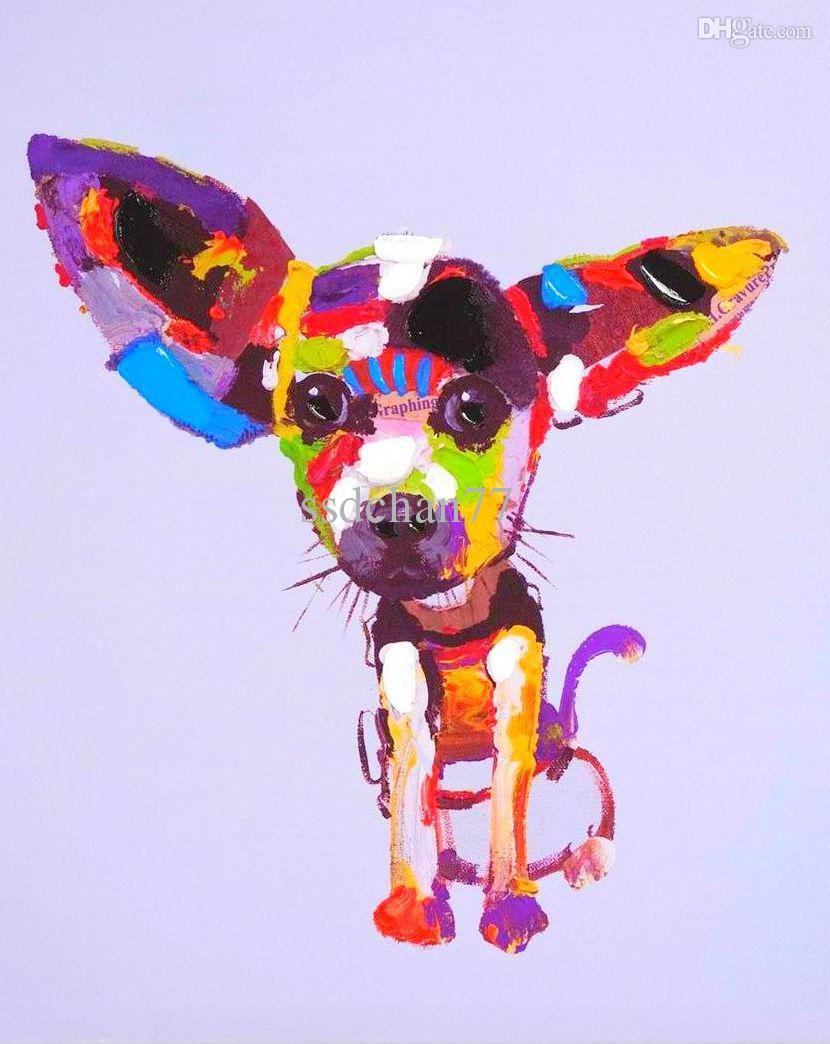 Satın Al Toptan ücretsiz Kargo Modern Köpek Petrol El Boyama Duvar