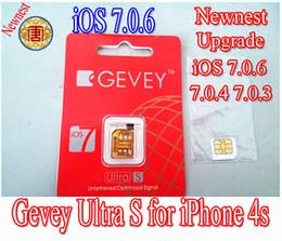 Wholesale Gevey Gsm - GEVEY Ultra S sim card for upgrade IOS 7.0.6 IOS 7.0.4 IOS 7.0.3 IOS 6.0- 6.1.3 IOS 6.1.4 sim card for iphone4s GSM CDMA free shipping