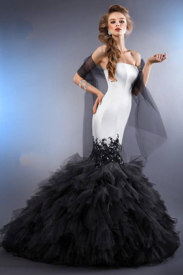 Mermaid Wedding Dresses 2014 Red Black And White Satin Tulle