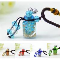 Wholesale premium glass bottles - Creative Color Glass Aroma Oil Pendant Necklace MINI Essential Oil Bottle Perfume Vials Premiums Gift 5pcs lot DC243