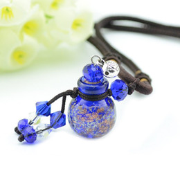 Wholesale Aroma Circle - Luminous Color Crystal Ball MINI Essential Oil Bottle Aroma Necklace Pendant Premiums Gift 5pcs lot DC241