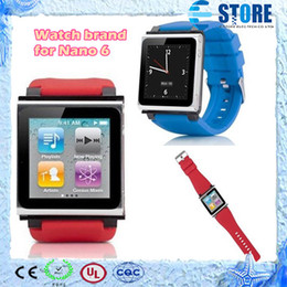 Wholesale Apple Rubber Band - Multi-Touch iWatchz bracelet wrist Watch band Strap Rubber Cover case lock For Apple iPod Nano 6 mp4 player with Retail box,M