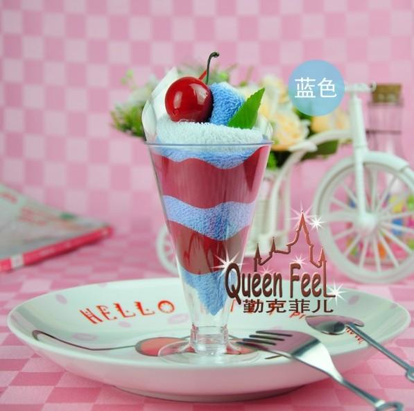 Novely wedding Patry Christmas gift ice cream cake towel 20cmx20cm 100% cotton Towel Tsim cup of ice cream cake towel