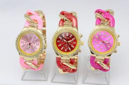 Wholesale Stainless Steel Cowboy Bracelet - luxury watches GENEVA brand bracelet Color Cowboy Dress Chain strap colorful quartz Ceramics fashion metal ladies wrist watches for women