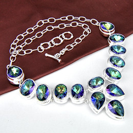 Wholesale Lady Multi Crystal Necklace - Free shipping - 2pcs lot Royal Style 925 silver Multi genuine mystic topaz fashion lady nacklace N0096