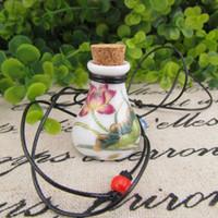 Wholesale Perfume Bottle Wedding Favors - Color Lotus Painting Ceramics Essential Oil Bottle MINI Pendant Necklace Perfume Vials Wedding Favors 5pcs lot DC235