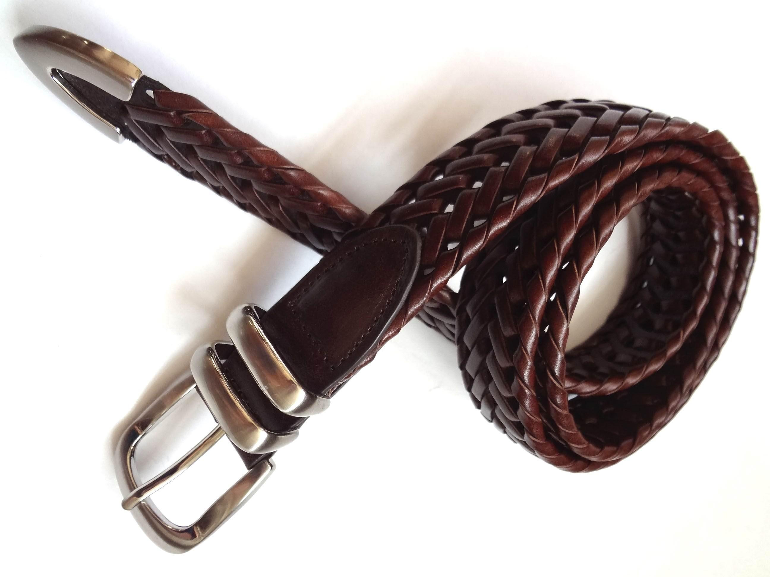 Western Jean Braided Leather Belt Burnished Casual Braided Belt
