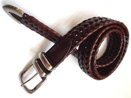 Wholesale Braided Black Belt Men - Western Jean Braided Leather Belt, Burnished Casual Braided Belt