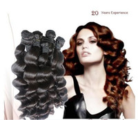 Wholesale 5a virgin hair pcs online - Trade A High quality Loose Wave Peruvian virgin remy human hair extensions g color b same lenght or mix lenght DHL