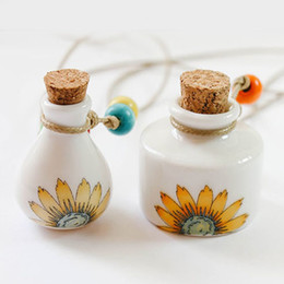 Wholesale Sunflower Paintings - Color Sunflower Painting MINI Ceramics Essential Oil Bottle Ceramic Perfume Pendant Necklace Accessories 10pcs lot DC232