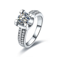 Wholesale white gold wedding rings for her resale online - In touched Beautiful Ct Round Cut Synthetic Diamond Wedding Ring for Her Solid Sterling Silver Ring White Gold Plated Jewelry
