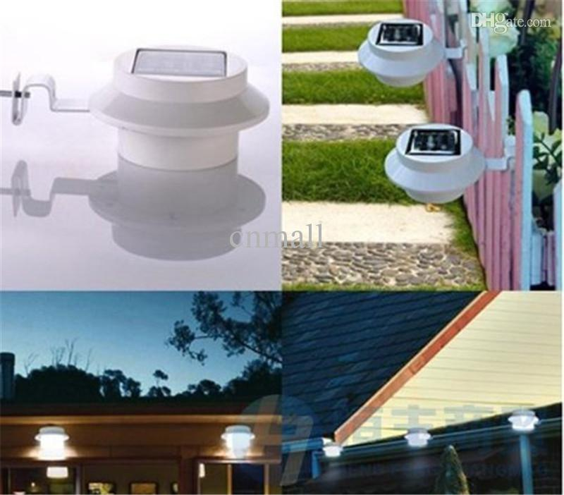 Outdoor Solar Powered 3 LED Light Fence Roof Gutter Garden Yard Wall Lamp Garden Street Lighting Energy-saving Lights LED Solar Powered