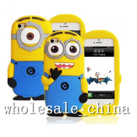 Wholesale Despicable Case Cover 3d - Despicable Me 2 Case 3D Cute Minions Soft Silicone Cartoon Back Cover Smile Big Eye minions for IPHONE4,4S,iphone5,5C,5S,5G