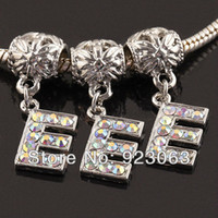 Wholesale Wholesale Bracelet Large Hole Bead - Wholesale 20pcs AB Rhinestone Alphabet Letter E 18K European Spacer Charms Large Hole Beads Fit Diy Bracelet Jewelry Accessories
