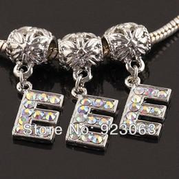 Wholesale Letter E Charm - Wholesale 20pcs AB Rhinestone Alphabet Letter E 18K European Spacer Charms Large Hole Beads Fit Diy Bracelet Jewelry Accessories