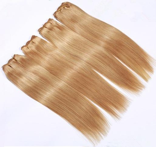 Discount high quality cheapest super soft super sexy beautiful Indian Hair 5a unprocessed virgin hair 1pcs Golden yellow blonde