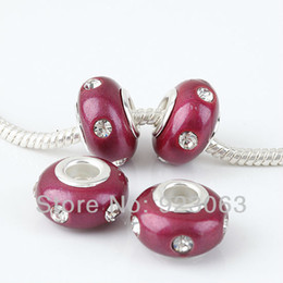 Wholesale Dark Red European Beads - Wholesales 20pcs Lot Clear Crystal Dark Red Polymer Clay Rondelle Loose Spacer Large Hole Charms Beads For European Bracelet