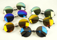 Wholesale Restore Mirrors - Send free DHL_200PCS restoring ancient ways round metal frame sunglasses colorful mirror piece of men's and women's sunglasses