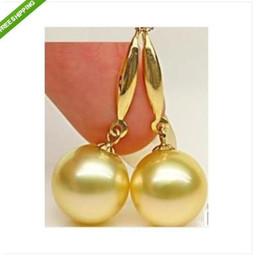 Wholesale South Sea Australian Earrings - PERFECT ROUND AAA 9-10MM AUSTRALIAN SOUTH SEA NATURAL GOLD PEARL EARRING 14K