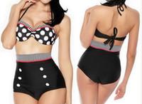 Hot selling New Arrived Retro Push-up Pin Up Padded High Waisted Bikini Set Dot Halter Swimsuit Back Tied Bathing Suit Beachwear Swimwear S M L XL