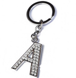 "Wholesale White Spinel - 120Pcs Lot Free Shipping A-Z 3.2"" Alloy Alphabet Letter Keyring Full Rhinestone Key Chain DIY Accessories"