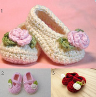 Wholesale Knitted Baby Booties Wholesale - Drop ship!Newborn knitted shoes!P Crochet Baby Booties-3colors!soft Crochet baby shoes,Girl Booties, leaves walker shOES.10pairs 20pcs.C