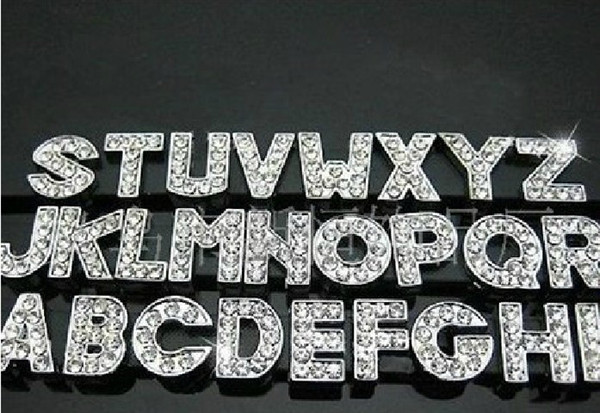 Clearance Sale 260Pcs/Lot DIY Side Letters With Rhinestone Charms For 10mm Pet Dog Collars Best Selling In Stock