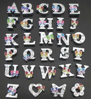 260Pcs Lot 8mm Alloy Slider Rhinestone Letter Charms A- Z Wit...