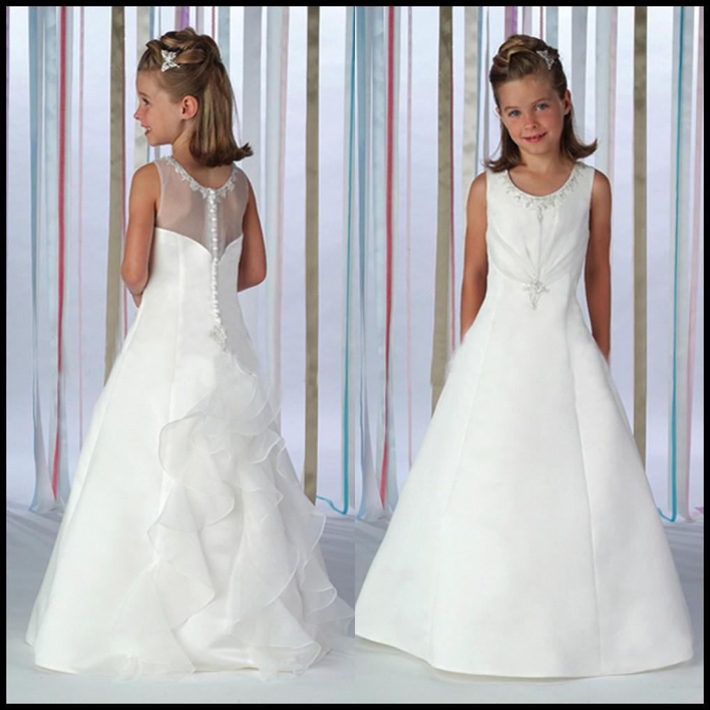 2014 A Line Sheer Jewel Neckline Flower Girls Dresses Floor Length White Lace See Trough Back Formal Bridal Gowns Sleevelesss YF80