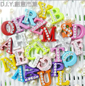 Colorful Alloy Slide Alphabet Letter A-Z Rainbow Halp Top With Rhinestone 8mm Threading Accessories