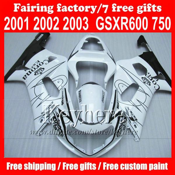 Пользовательские ABS обтекатель комплект для Suzuki K1 GSXR 600 R750 01 02 03 GSXR600 GSXR750 2001 2002 2003 2003 белый корона дополнительные обтекатели комплект кузова