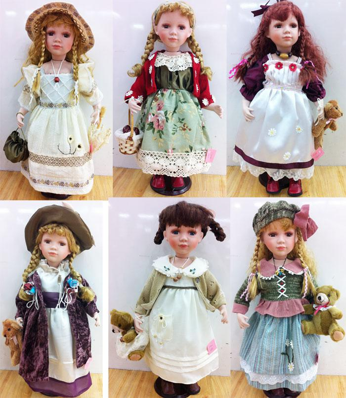 2 PORCELAIN DOLLS 6 INCH BENDABLE toy doll girls toys ceramic glass novelty new