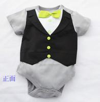 Wholesale Bodysuits Gentleman - Doomagic Baby One-pieces Romper Green Bowties Tuxedo Vest Bodysuits Gentleman bodysuit TOP QUALITY 2 style Retail Drop Shipping